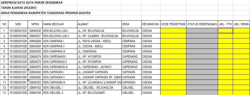Verifikasi Dapodik Dikdas 2012
